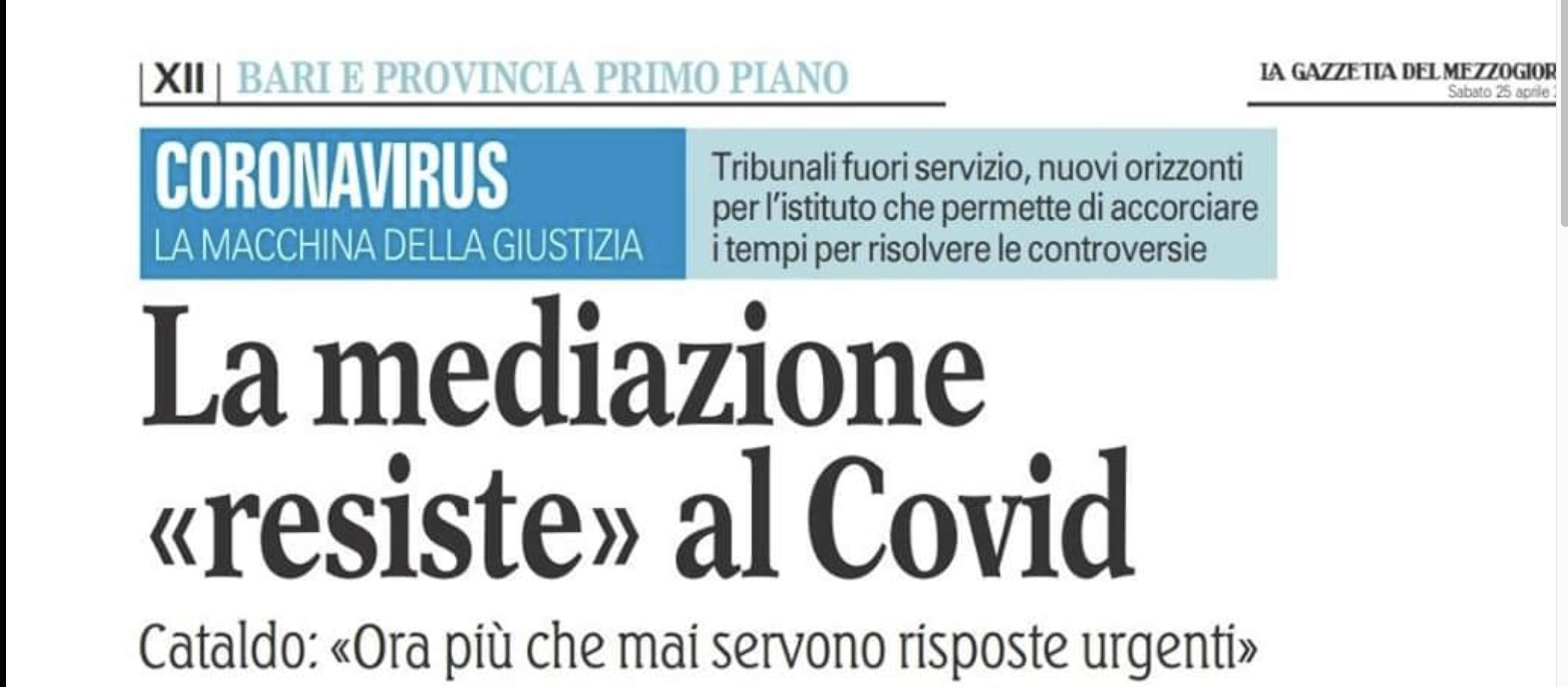 Pubblichiamo l'intervista fatta alla nostra coordinatrice regionale della Puglia, Avv. MARISA CATALDO dalla giornalista del Corriere del Mezzogiorno MARINA DIMATTIA.